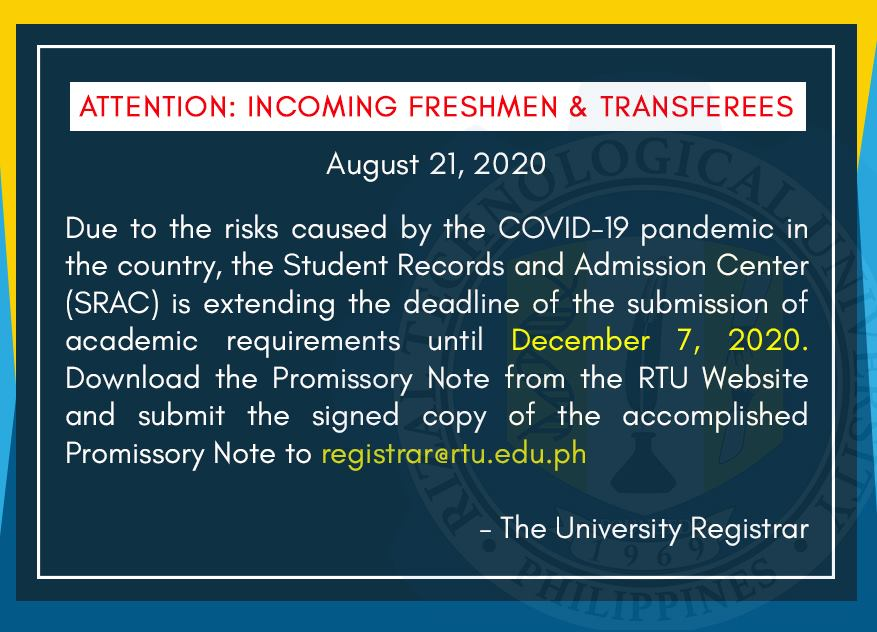 ATTENTION: INCOMING FRESHMEN AND TRANSFEREES