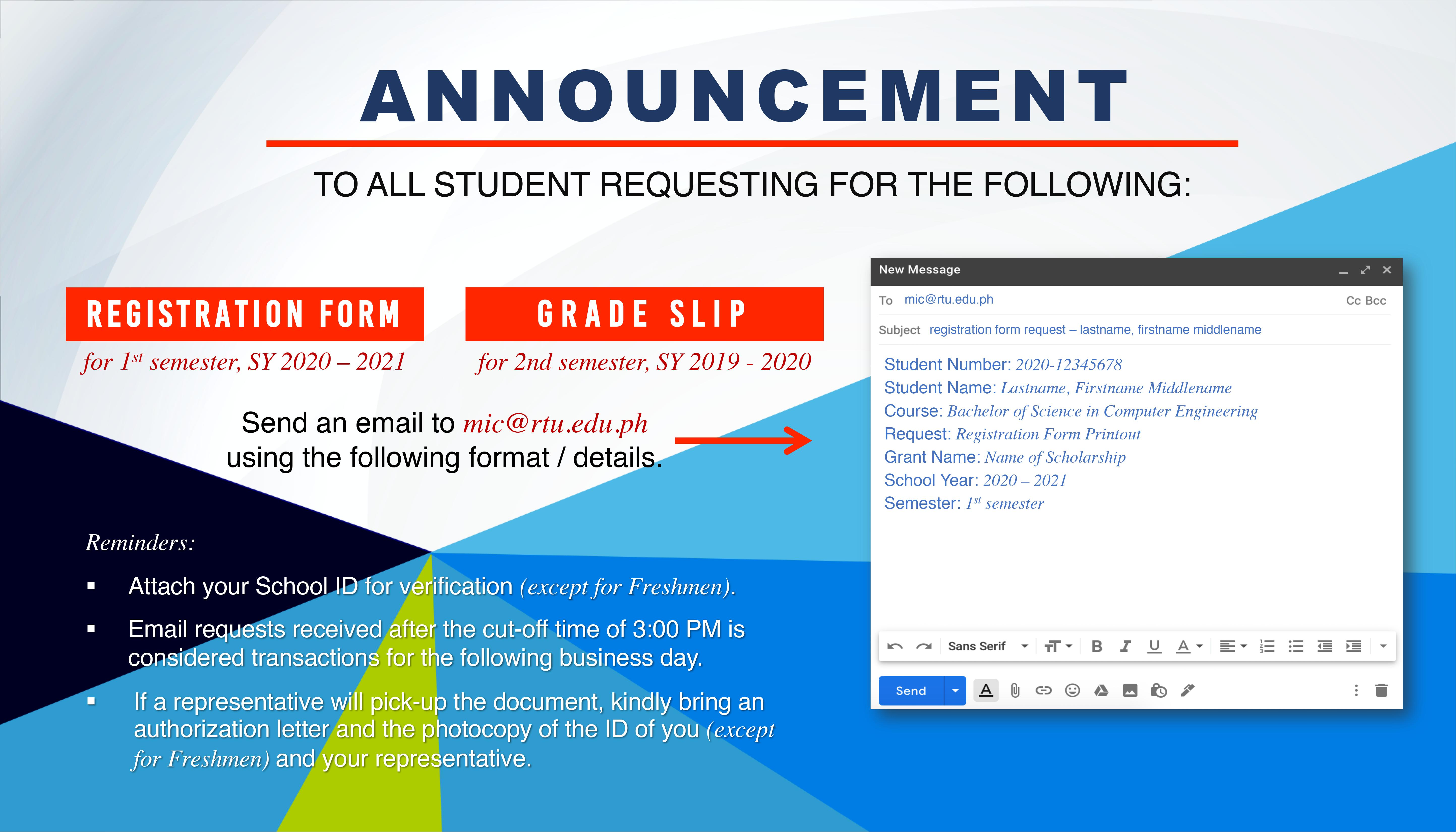 REGISTRATION FORM (SY 2020-2021)AND GRADE SLIP (SY 2019-2020) PROCEDURES.