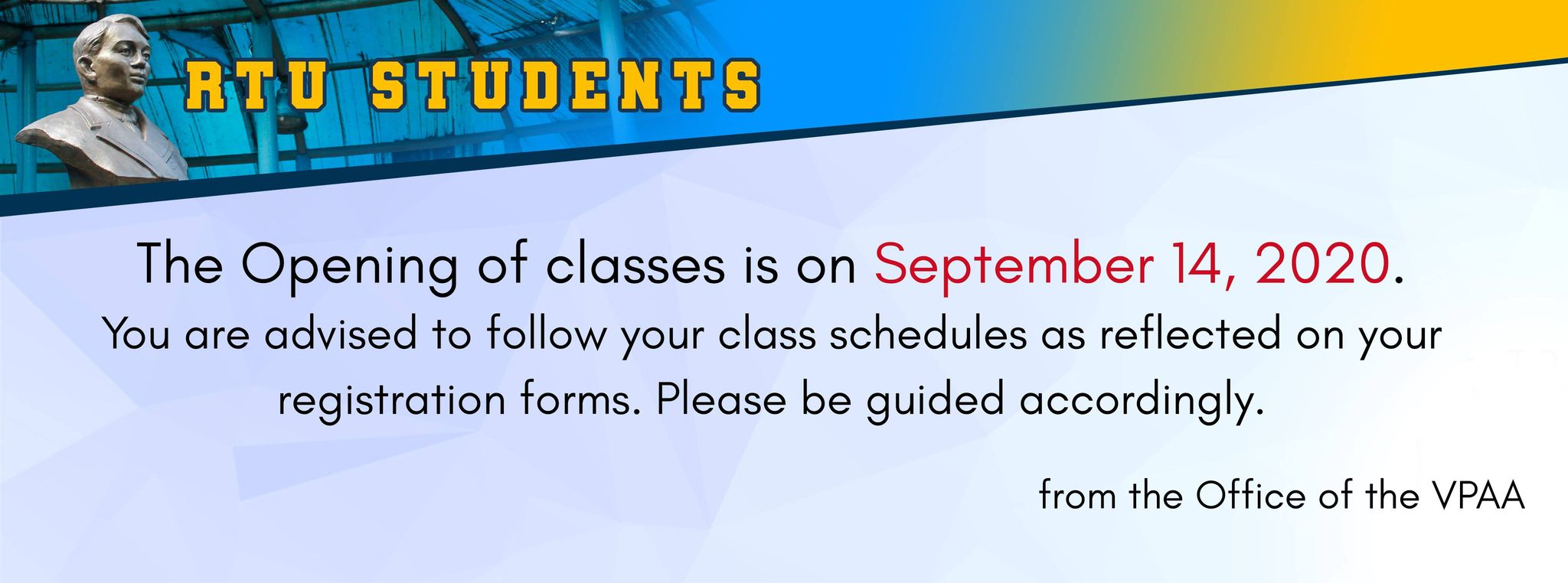 THE OPENING OF CLASSES IS ON SEPTEMBER 14, 2020