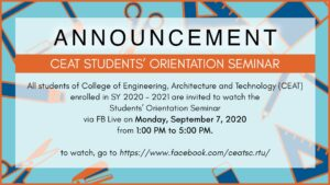 CEAT STUDENTS' ORIENTATION SEMINAR