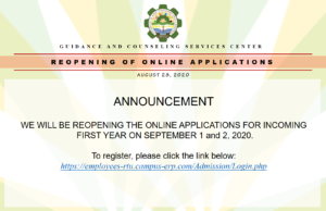 REOPENING OF ONLINE APPLICATIONS