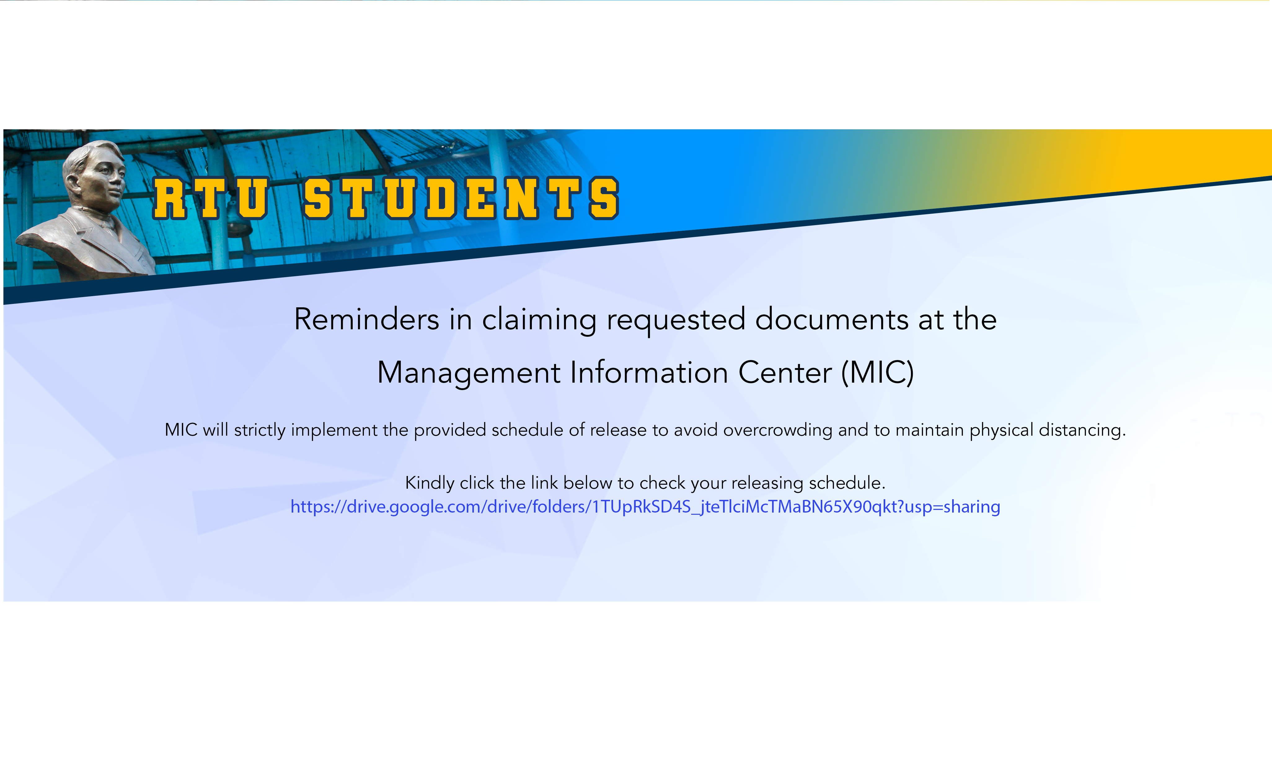 REMINDERS IN CLAIMING REQUESTED DOCUMENTS AT THE MANAGEMENT INFORMATION CENTER(MIC)