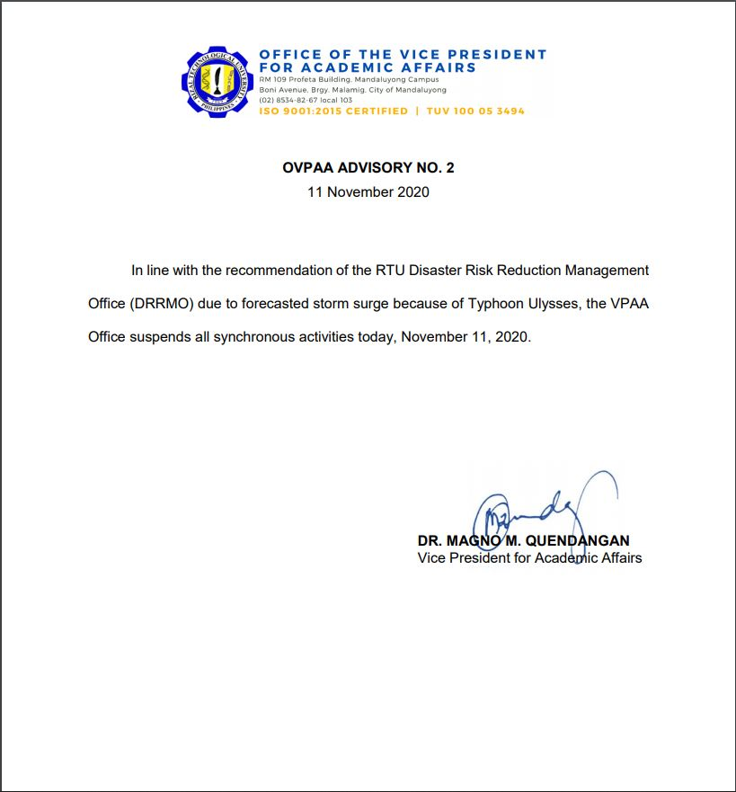 OVPAA Advisory No. 2 – NOVEMBER 11, 2020 SUSPENSION OF SYNCHRONOUS ACTIVITIES