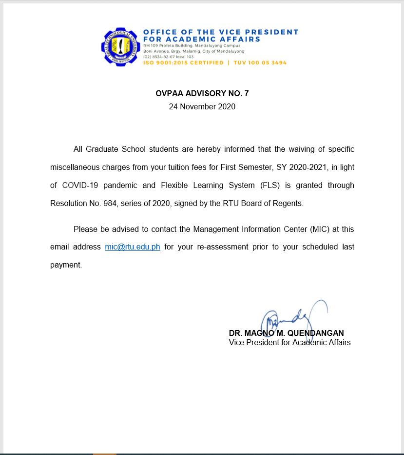 OVPAA ADVISORY NO.7 (NOV. 24, 2020)