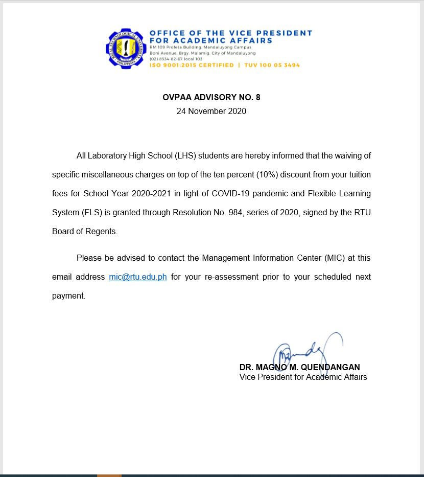 OVPAA ADVISORY NO.8 (NOV. 24, 2020)