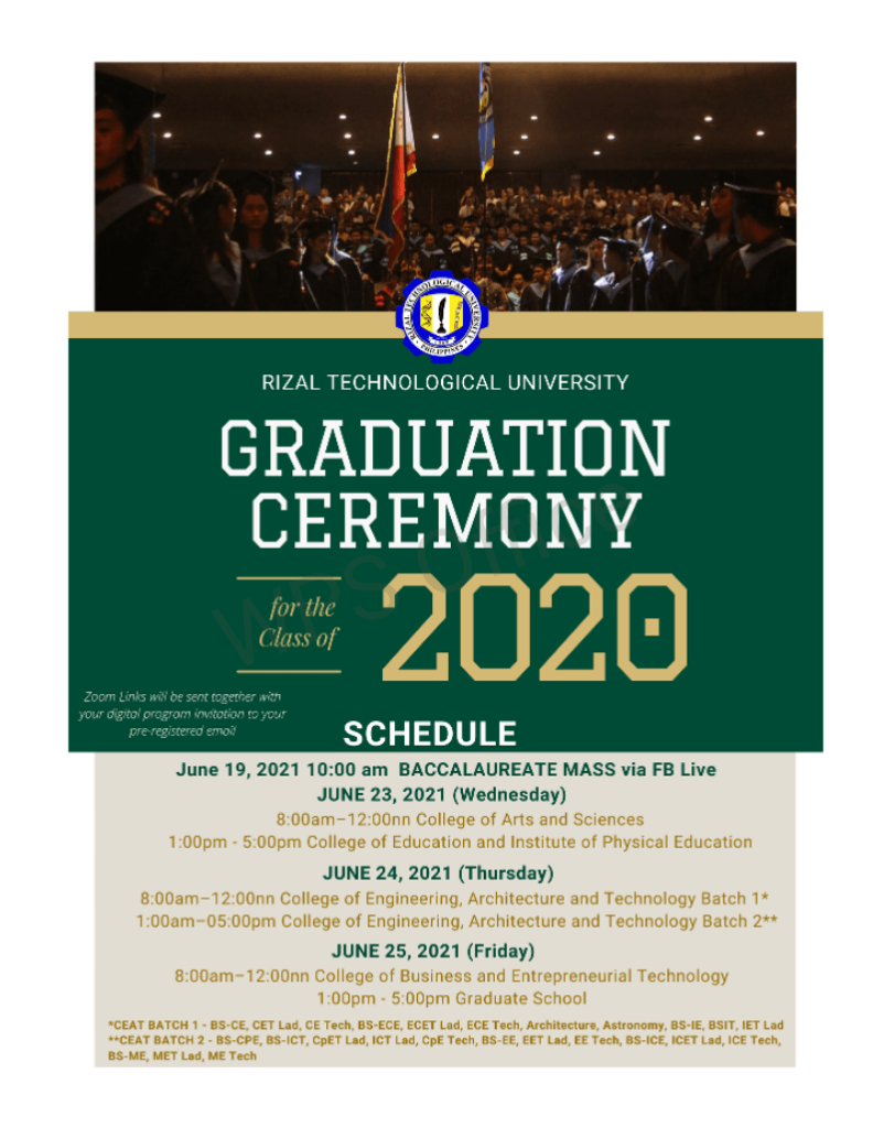 GRADUATION CEREMONY FOR THE CLASS OF 2020