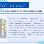 TO ALL COMPREHENSIVE EXAMINATION TAKERS (GRADUATE SCHOOL)