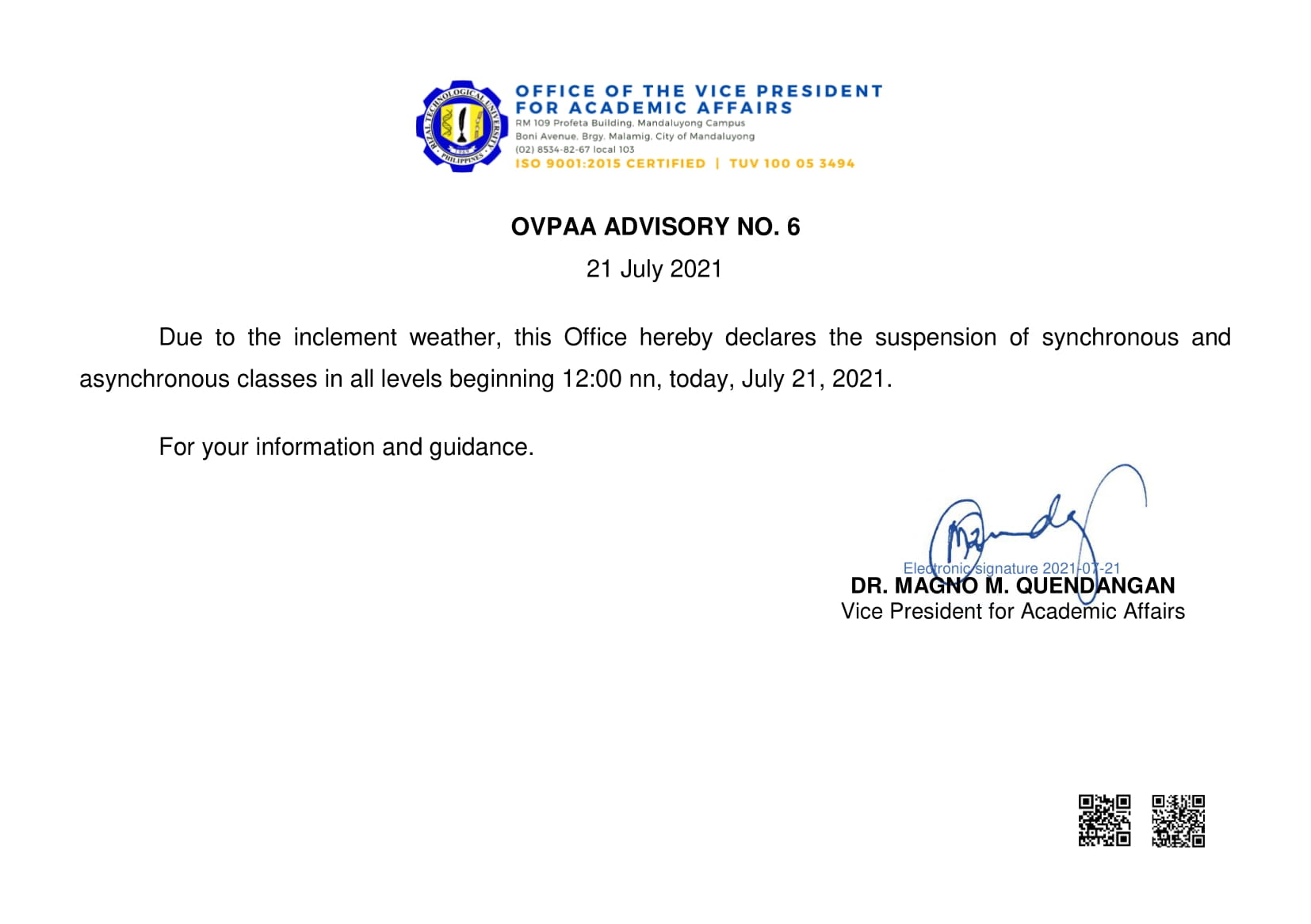 You are currently viewing OVPAA ADVISORY NO.6-SUSPENSION OF CLASSESS JULY 21, 2021