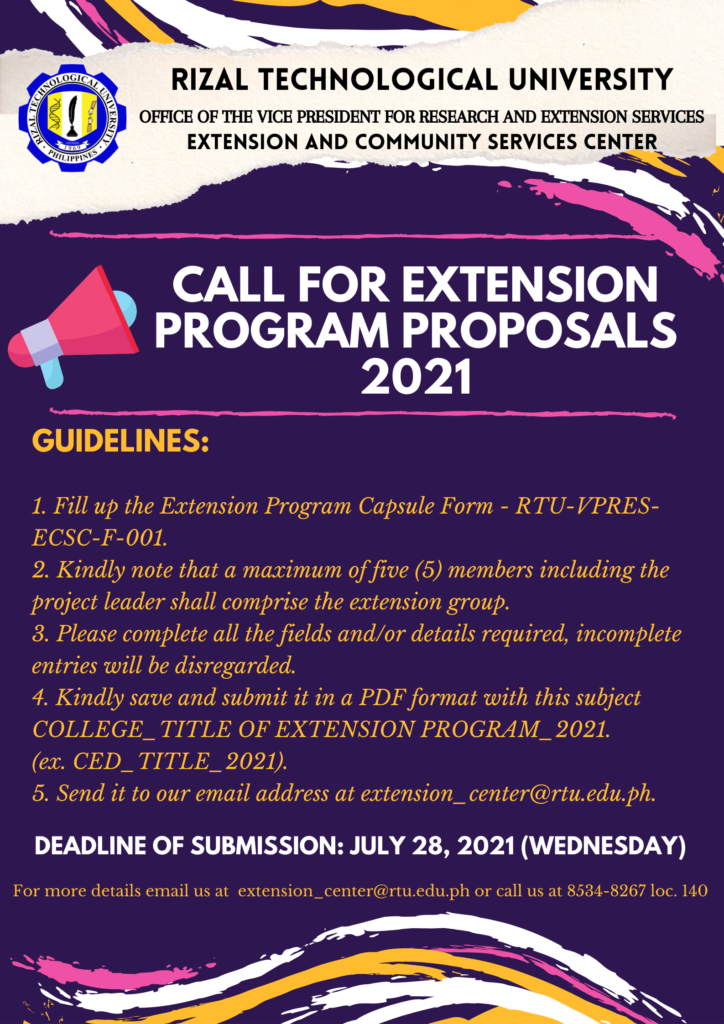 CALL FOR EXTENSION PROGRAM PROPOSALS 2021