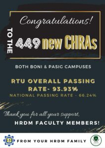 CONGRATULATIONS TO THE 449 NEW CHRAs (RTU OVERALL PASSING RATE-93.93%)